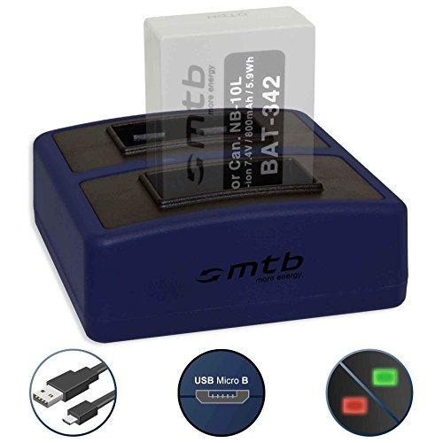 Caricabatteria doppio Compact (USB) per Canon NB-10L | PowerShot G15, G16, G1 X, G3 X, SX40 HS, SX50 HS, SX60 HS - Cavo USB micro incluso (2 batterie simultaneamente caricabili)