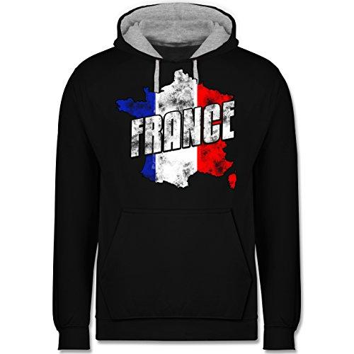 Fußball-WM 2018 - Russland - France Umriss Vintage - Kontrast Hoodie Schwarz/Grau Meliert