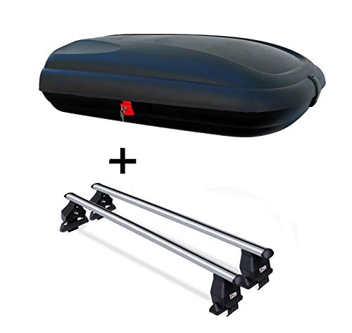 Dachbox VDPBA320 320 Ltr Carbonlook abschließbar + Dachträger Menabo Tema kompatibel mit VW Golf VI 5Türer 2008-2012 Aluminium