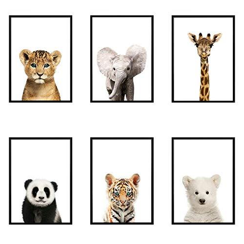 MYSY Löwe Panda Elefant Giraffe Tierbabys Kunstdruck Poster Safari Tiere Bilder Leinwand Malerei Kinderzimmer Kinderzimmer Wanddekoration-21x30cmx6 Stück kein Rahmen