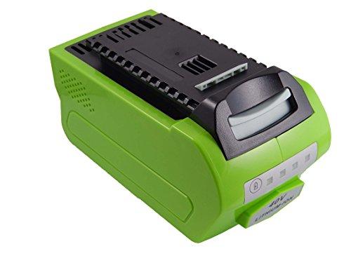 Preisvergleich Produktbild vhbw Li-Ion Akku 4000mAh (40V) für Elektro Werkzeug Greenworks Rasenmäher 45cm, Rasentrimmer wie 24252, 2601102, 29282, G-MAX 4 AH Li-Ion.