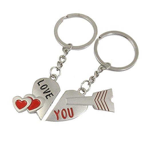Paar Magnet geteiltes Herz Pfeil Anhänger Schlüsselanhänger Schlüsselanhänger Paare