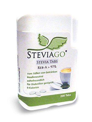 STEVIAGO Stevia Tabs (Reb-A 97%) im praktischen Tabspender (200 Tabs) -