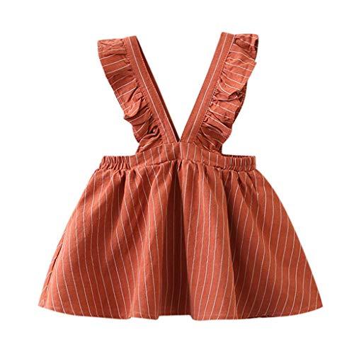 YWLINK MäDchen Kleidung Strap Kleid ÄRmellos Klassisch Süß RüSchen Streifen Party Prinzessin Campus Mini Kleider Geschenk 90-130 (Orange,110)