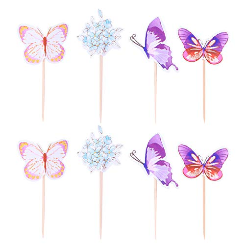 BESTONZON 24 STÜCKE Schmetterling Blume Kuchen Topper Geburtstag Cupcake Picks Geburtstag Party Dekoration für Kinder Erwachsene (Zufällige Farbe)