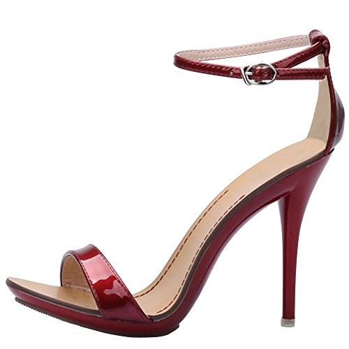 Damen Sandalen Knöchelriemchen Schnalle Stiletto High Heels Absatz-10,5CM Sexy Hochzeit Party Bordeaux