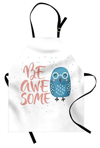 Kostüm Mann Blass - Seien Sie ehrfürchtige Schürze, lächelnder Spatz-Vogel mit Brille und gekritzeltem Herzen, Unisexküchen-Latzschürze mit justierbarem Hals für das Kochen Backen-Gartenarbeit, blasse Petrolblau-Schiefer
