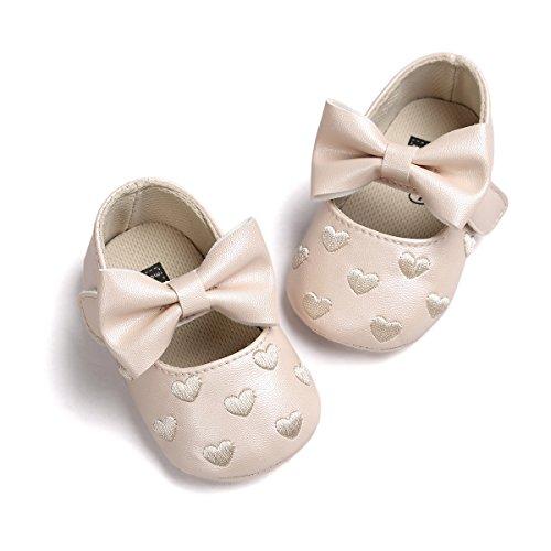 Chaussures de bébé Auxma bébé fille Bowknot chaussures en cuir doux baskets glisser seul enfant pour 0-18 mois (6-12 M, Rouge) Kaki