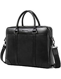BISON DENIM Herren klassische echtes Leder Aktenkoffer Laptop Schulter Messenger Bag Business Tote