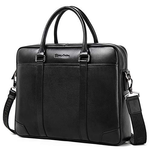 BISON DENIM Herren Ledertasche Leder Umhängetasche Aktentasche Laptoptasche Arbeitstasche Businesstasche Handtaschen Messenger Bag (N2610-Schwarz) - Benutzerdefinierte Handtaschen Aus Leder
