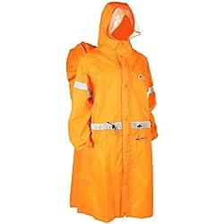 TRIWONDER Impermeable Capa de Lluvia Poncho para niños niñas niños Poncho Chaqueta Gear con Mochila posición niña (Naranja, XL)