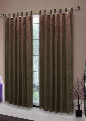 Satin Emboss / Reliefprägung bemustert Vorhang Gardine Barock, Braun -20380- Blickdicht zum Verdunkeln mit Schlaufen und eingenähtem Kräuselband, 245x135 (Höhe x Breite in cm), 20380 (Satin-vorhänge)
