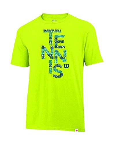 Wilson M Spring Tennis Tech, Maglietta a maniche corte, Giallo (Solar Lime), XL
