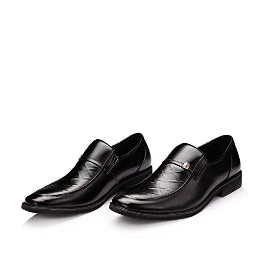 GRRONG Chaussures En Cuir Pour Hommes Tenue Noire Pointu Black