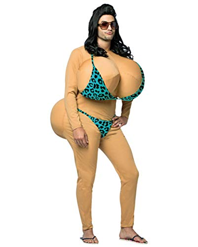 Horror-Shop Big Boobs Bikini Kostüm für Männer | zum Aufblasen