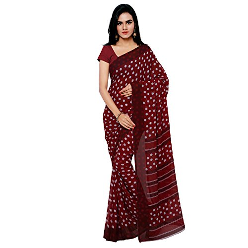 GoodFeel Polka Dot Print Fashion Chiffon Saree For Women (Luv-Maroon_Maroon)  available at amazon for Rs.505
