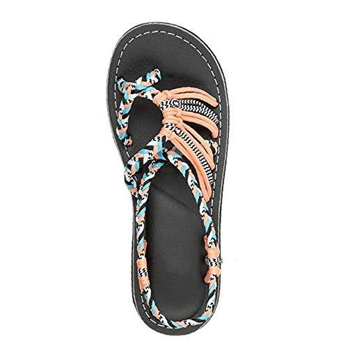 KAIROSF Hanfseil Sandalen - Palm Leaf Flache Sandalen für Damen