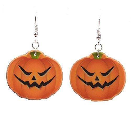 Beydodo Halloween-Party Schmuck Vergoldet Ohrringe Damen Wütend Kürbis Ohrhänger Silber