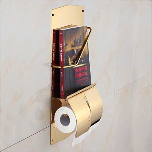GRY Multi Funktion Kreative Badezimmer Hardware Edelstahl Bücherregal + Doppel Volumes Toilettenpapier Flugzeuge, Bad Zubehör,Gold -