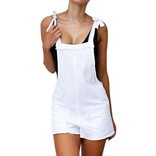 ESAILQ Jumpsuit Damen Elegant Kurz Playsuit Blumenstickerein ärmellos V-Ausschnitt Overall Romper Jumper(M,Weiß)