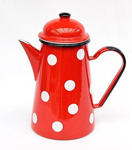 DanDiBo Kaffeekanne 578TB Rot mit weißen Punkten 1,0 L emailliert 22 cm Wasserkanne Kanne Emaille...
