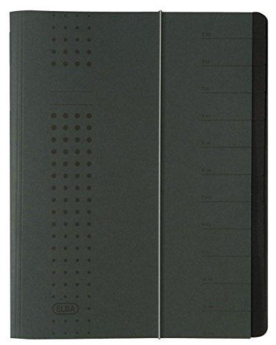 ELBA 400001032 Ordnungsmappe chic A4 12 Fächer mit Blankotaben & Spanngummi aus Karton in anthrazit