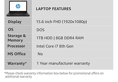 HP 15 Intel Core i7 8th Gen 15.6-inch Thin and Light Laptop (8GB/1TB HDD/DOS/4GB Graphics/Sparkling Black/1.86 kg), bu107tx