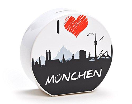 Spardose aus Keramik in 2 Varianten - I Love München - Originelle Geldbüchse von WoMa - Weiß/Schwarz / Rot
