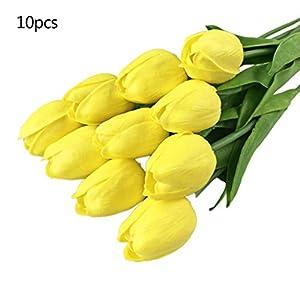 Meiqqm – Juego de 10 Tulipanes Artificiales de Tacto Real para el hogar, Bodas, Fiestas, Bricolaje, decoración, Ramos de…