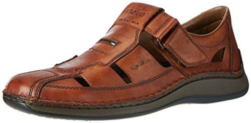 Rieker Herren 05284 Sandalen, Braun (amaretto/24), 45 EU - Extra Breite Leder-sandalen