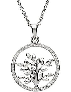 Baum des Lebens Silber Anhänger Geschmückt mit Swarovski® Kristall und Halskette für Frauen