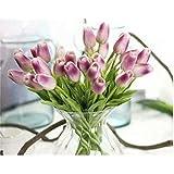 Waymeduo 10 Stück Tulpe künstliche Blume Latex Real Touch Bridal Wedding Bouquet Home Decor(Lila)