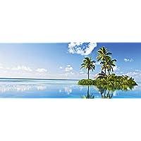 """Glasbild /""""Palmen Meer/"""" von DEKOGLAS 125x50 aus Glas Wohnzimmer Wand Bild modern"""