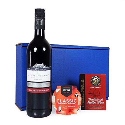Traditional Mulled Wine Delights Luxury Mulled Wine Hamper In Blue Gift Box With 750ml Las Montanas Red Wine Gift Ideas For Christmas Hampers