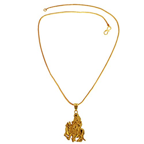 Beingwomen Spiritual Collection Gold Plated Shri Krishna Playing Flute Mini Pendant with Chain  available at amazon for Rs.225