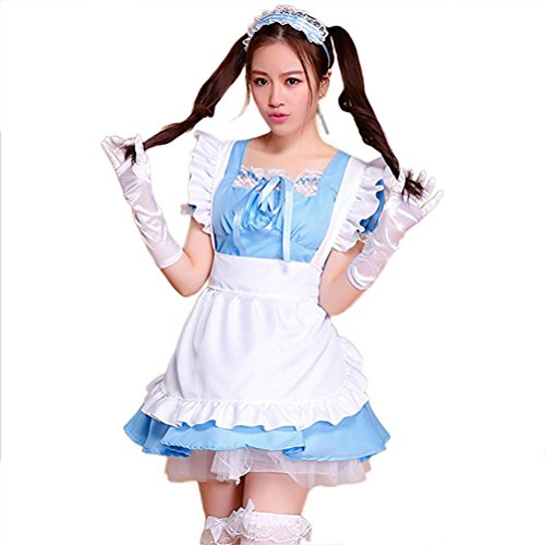 Preisvergleich Produktbild Cute Lolita Anime Cosplay Maid Costumes ( Dress + Apron + Hair accessories + Bowknot lace white socks ) color - sky blue , Size - XL