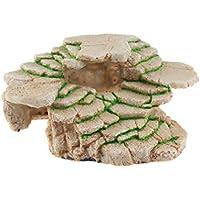 Emours - Plataforma de balancín para Tortuga de Shale Rock Den, con Borde y Cueva Gecko para decoración de Acuario, tamaño Mediano