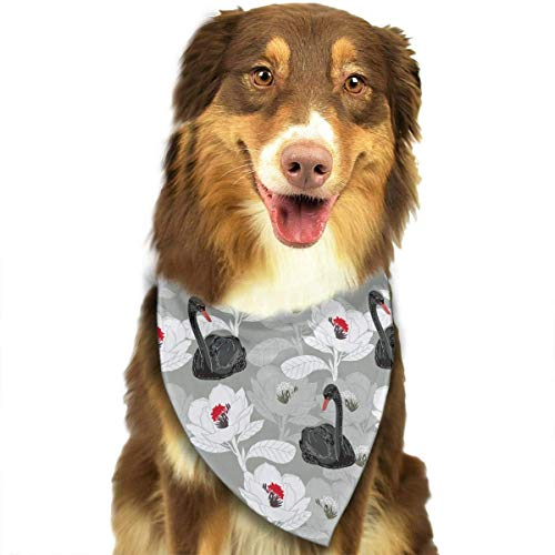 Sdltkhy Black Swan White Flower Pattern Pet Bandana Washable Reversible Triangle Bibs Scarf - Kerchief for Small/Medium/Large Dogs & Cats