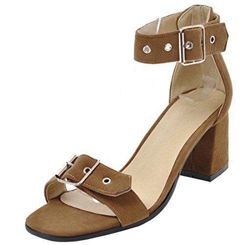 Atyche Damen High Heels Riemchen Sandalen mit Schnalle und Blockabsatz Ankle Strap Pumps Open Toe Schuhe