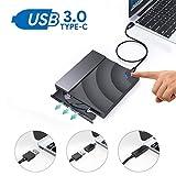 ZUKABMW Externes CD-Laufwerk für Laptop, USB 3.0 Typ C Dual Port optisches DVD Player Laufwerk externer tragbarer CD DVD-RW Brenner Player für MacBook Pro PC Computer Windows 7/8/10/Mac OSX