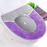 XIAOYANJIA Winter warme gepolsterte Paste magische Schnalle Toilettensitz WC Toilettensitz Toilettensitz Universal WC Sitzkissen, gestreift lila