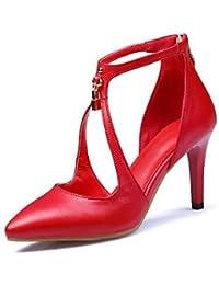 Ei&iLI Zapatos de boda - Tacones - Tacones / Comfort / Pump Básico / Puntiagudos / Punta Cerrada -Boda / Oficina y Trabajo / Vestido / Fiesta y , 2in-2 3/4in-red
