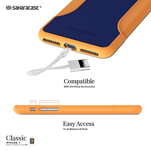 Funda iPhone 7, SaharaCase® de protection Kit Bundle [Protector de pantalla ZeroDamage® en Vidrio Templado] Acabado de primera calidad [renforcé antichoc Bumper] Protection robuste (Naranja, Azul)