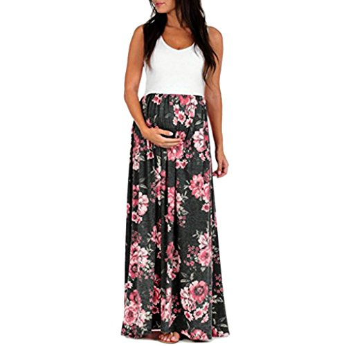TIREOW Women Dresses, Women's Sleeveless Pregnant Ruched Maxi Maternity Dress Mother Floral Sundress (M, Black)