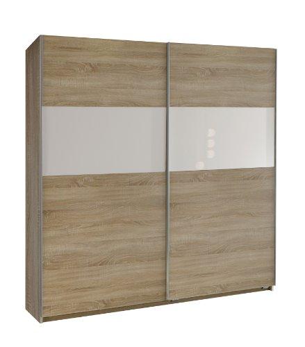 Wimex 134771 Schwebetürenschrank Arezzo 198 x 180 x 64 cm, Front und Korpus Eiche-sägerau-Nachbildung, Absetzungen Glas weiß