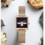 Lnyy Quadratische Stahl-Streifen 3D Casual Schulmädchen Uhr NS Retro-Paar Watch