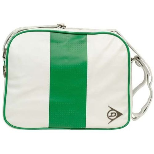 Dunlop GREEN FLASH Double Zip Shoulder Bag White & Green