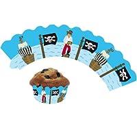 12 Piraten / Kinderpiraten - Cupcake Deko Banderolen von DH-Konzept // Muffinförmchen Muffin Förmchen Kindergeburtstag Geburtstag Pirat Party Kuchen