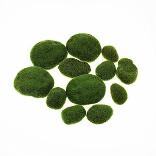 LJY künstliche Moos-Steine, dekorative Steine für Blumenarrangements, Garten, Terrarien und Basteleien, 12 Stück, größensortiert.