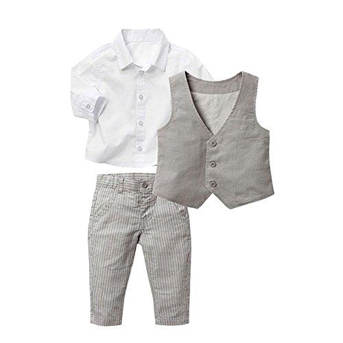 Conjunto de Tres Piezas para Bebé Niño Camisa de Manga Larga + Chaleco + Pantalones Traje de Bautizo Fiesta Boda Ceremonia Gris Label 110